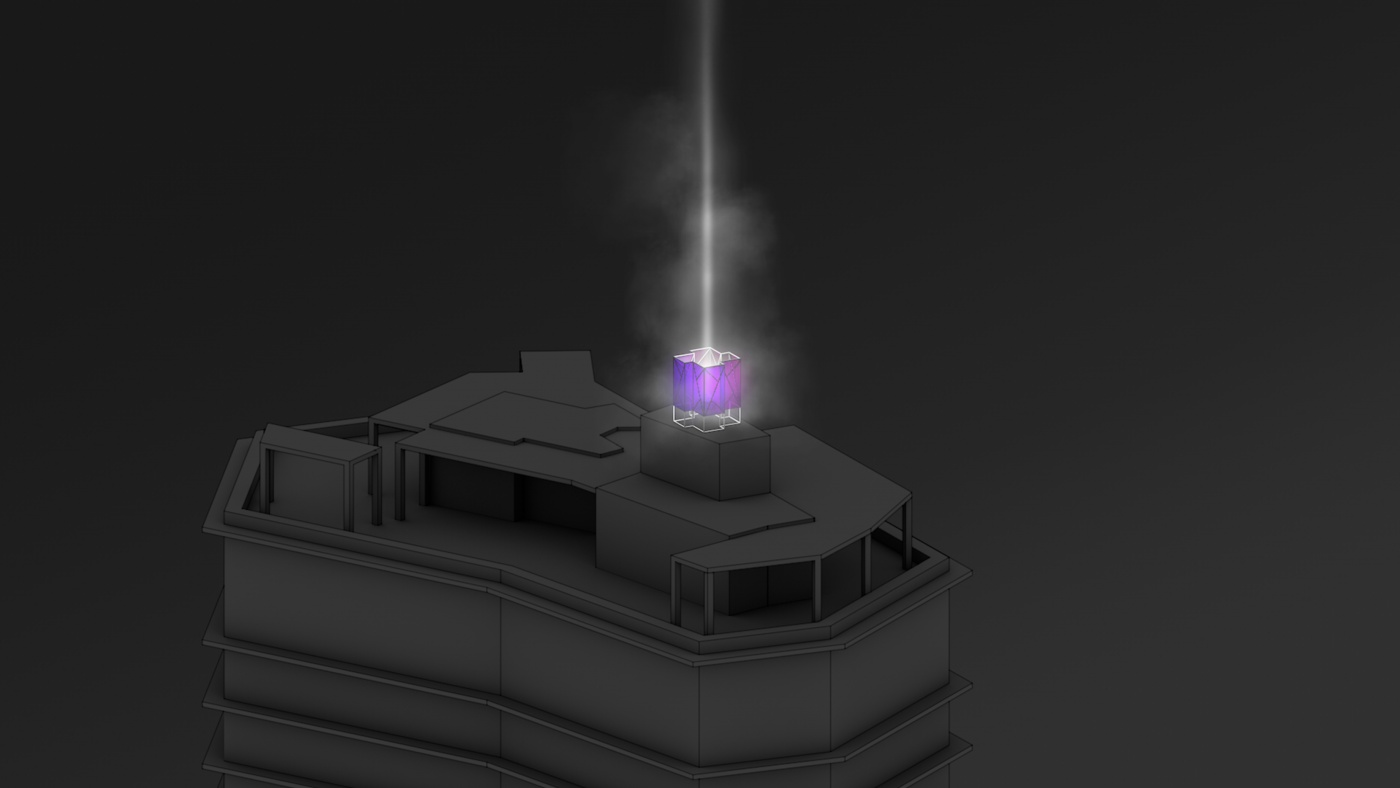 Wok Hei: scaled test full building lights colored-glass 01 beam by FIELD.IO